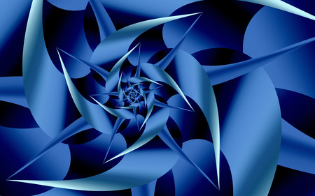 Out of the Blue - curves, fractals, shapes, blue, abstract, spiral