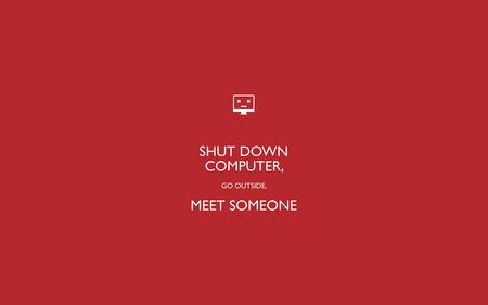 Shut Down Computer - wallpaper, someone, computer, red, meet, shut down, outside