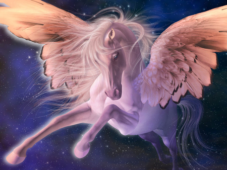 PEGASUS - horse, abstract, blue, art, winged, 3d, pegasus, fantasy, flying