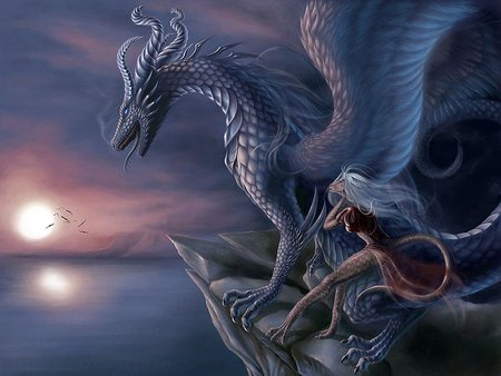 blue dragon - sunset, blue, drake, ocean, dragon lady, blue dragon, fantasy, moon, night, dragon, rocks