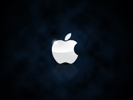 AppleLogo-Clouds - logo, cool, think different, clouds, macintosh, night, technology, mac, black, gloss, apple, metal, reflection