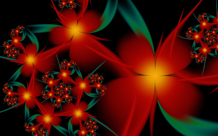 Passion Flower - fractals, flowers, spiral, black, red