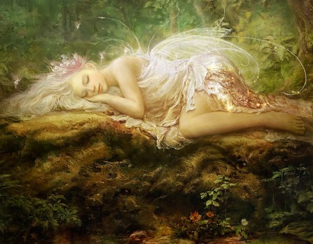 Watching Over Her - wings, wood, beautiful, sleeping, meadow, log, magical, girl, fairy, white, forest, fantasy, woods, lying, trees, painting, lovely, fee