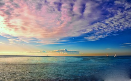 COLORFUL SEASCAPE - enchanting, ships, clouds, colorful, ocean