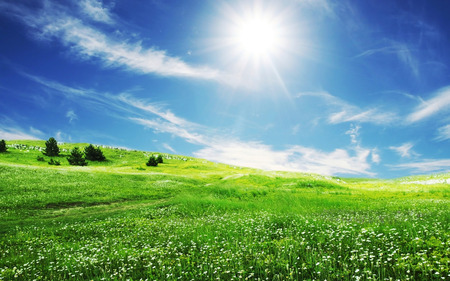 Spring Sun - spring, skies, sky, blue, grass, sun, nature, fields, white clouds