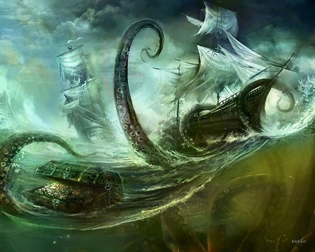 Octopus - dark, graphics, octopus, ship, fantasy, dark art
