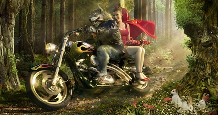 Redcap and the evil wolf / Rotkaepchen und der boese Wolf - motorcycle, riding, motorcycles, abstract, dark, fable, rotkaepchen, red, redcap, fantasy, woods, dark art, graphics, character, 3d and cg, hood, widescreen, 3d, wolf, cg