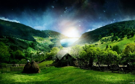 Nature 3d Wallpaper   - landscape, green, glow, fantasy land, river, 3d, abstract, nature