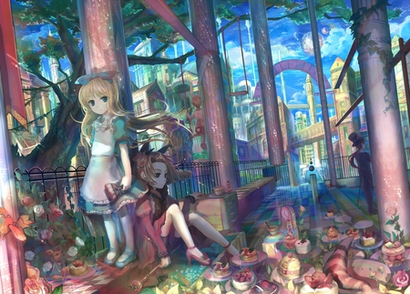 Girl and Boy - snack, boy, anime girl, shoes, girl, anime, alice, long hair, queen of hearts, blonde, white, male, dress, cute, flower, ponytail, rabbit, food, building, female