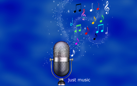 Just Music - beautiful, mrophone, microphone, blue, pretty, beauty, magic, stars, girl, fantasy, musical notes, entertainment, jacqelinela, colorful, colors, lovely, jacqeline, sheet, music, just music