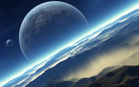 In space - blue, planets, mountains, sky