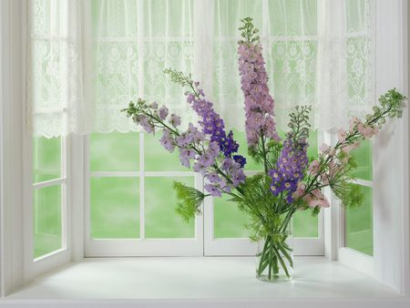 A Sunday Afternoon - flowers, window, purple, lilacs, lace, curtains, vase