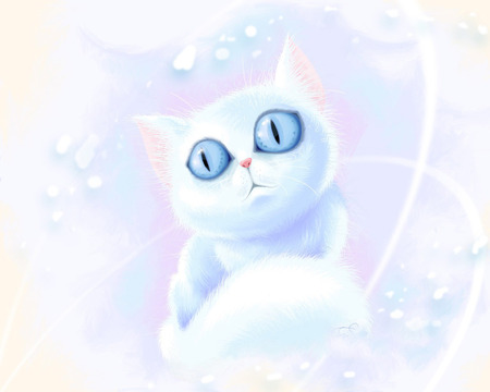 Cartoon Cat - cartoon, cat, white