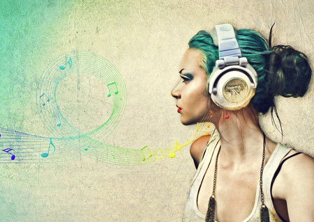 Just Music - song, headphones, abstract, art, beauty, girl, lady, woman, ear phones, hair, life, music, fantasy, entertainment, musical notes