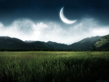 New Moon - cool, amazing, beautiful, abstract, beauty, night, landscape, nice, photoshop, awesome, fabulous, grass, mountains, fantasy, tranquility, new, green, grasslands, sky, wonderful, photography, clouds, moon, nature, fields