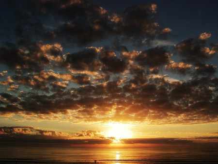 The Calm Sunset of the Day  - clouds, sunset, beach