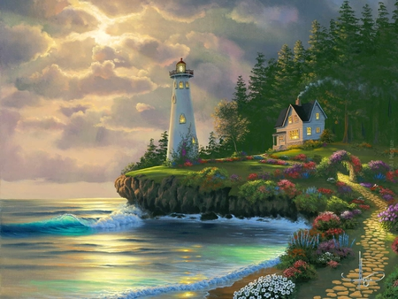 Returning Home - flowers, trees, sky, waves, beach, lighthouse, clouds, sunset, house, sea, forest