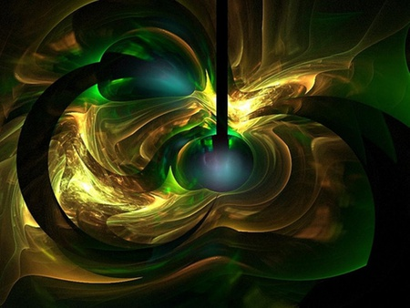 Green gold fractual explosion 3d and cg abstract for Gold 3d wallpaper