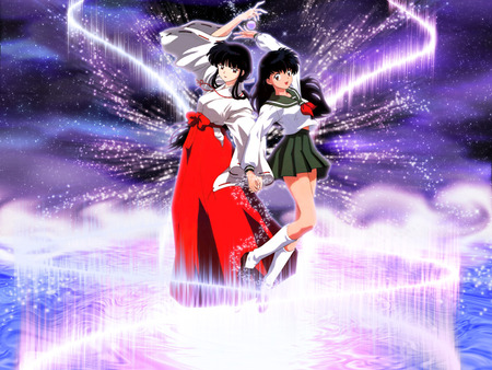 Kikyo and Kagome - kikyo, priest, anime girl, kagome, cute, girl, anime, light, inuyasha, female