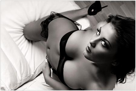 lost innocence - pillow, woman, hot, black and white, photograph, lovely, sexy