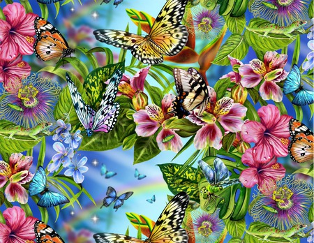 FLOWERS AND BUTTERFLIES - flowers, wallpaper, colurful, butterflies, pretty