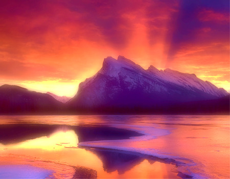 Fire and Ice - landscape, lake, mountain, sunset