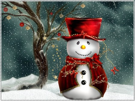 Festive snowman / Festlicher Schneemann - holidays, cool, snowey, xmas, cold, snow, love, red, feast, festive snow man, merry christmas, christmas, 3dandcg, christmas snowman, 3d and cg, 3d, its so cool, x-mas, cute snowman, winter, snowman