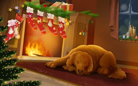 Silent Night  (WDS) - holidays, wds, security, xmas, pet, cold, feast, graphics, fireplace, merry christmas, comfort, christmas, dog, widescreen, lovely xmas scene, x-mas, winter
