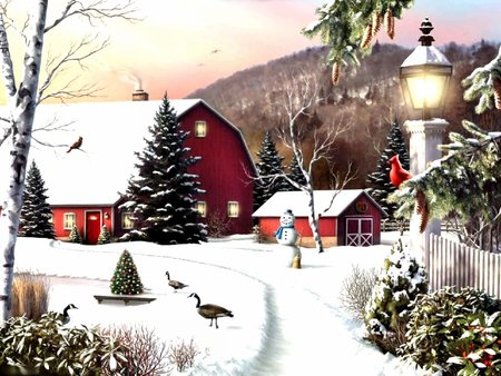 Snowy farm winter nature background wallpapers on for Christmas landscape images