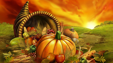 Thanksgiving Day / Erntedankfest - graphics, orange, halloween, colors, autumn, pumpkin, 3d and cg, richness, thanksgiving, cornucopia, sun
