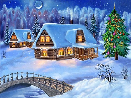Peaceful Christmas night in a log cabin. - holidays, cold, graphics, silent, xmas, winter, christmas