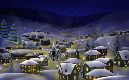 Hibernal snow - holidays, cold, 3d and cg, widescreen, xmas, winter, christmas
