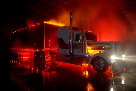 Nite-Light,	Kenworth At Night - 18wheelers, trucks, big rigs