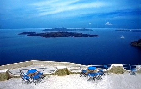My Country - sky, blue, view, islands, greece, white, sea, greek, balconi