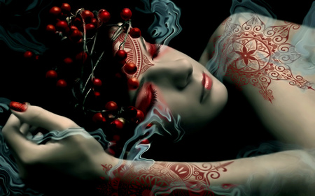 Beautiful Dreamer - dreams, people, beautiful, hand, sleeping, she, abstract, face, beauty, girl, female, nice, woman, red, fantasy, dreamer, colours, other, black, cute, lovely, smoke, photography, sleepy, tattoo, 3d, life, lips, sweet, girls
