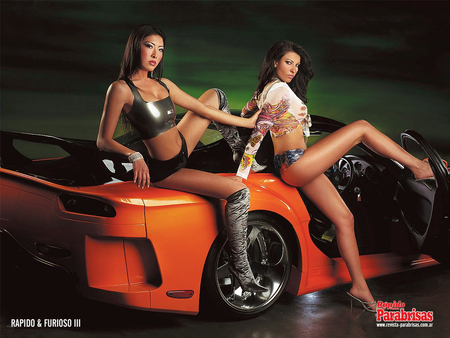 Car n Babes - models, beautys, 2, car