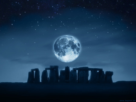 Full Moon - stone, mysterious, mythical, sky, blue, ancient, magical, architecture, full moon