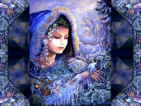 WINTER SPRITES - indian princess, fairy, abstract, blue, winter, fantasy