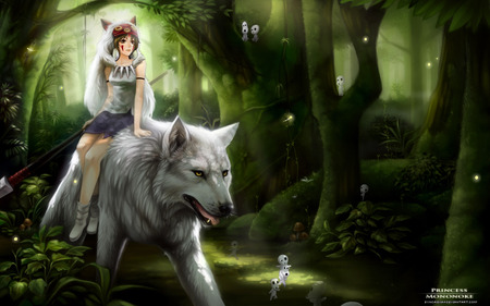 Princess Mononoke - green, cute, tree, animal, sexy, night, anime, female, girl, anime girl, hot, forest, fantasy, wolf, woods