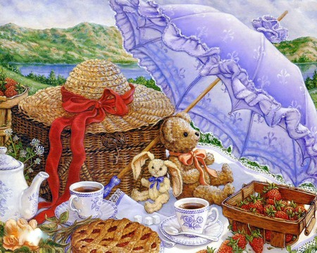 Parasol Picnic - picnic, hat, bonnet, tea, parasol, pie, food, strawberries, purple, teacups, teddy bear, mountains, rabbit, umbrella, teapot