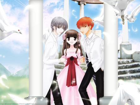 Always with me - yuki, tohru, kyo, basket, fruits