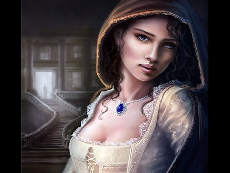 SAPPHIRE - abstract, sapphire, beauty, night, female, wallpaper, lady, necklace, fantasy, castle, cg