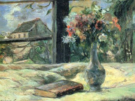 Flower vase at the window - house, flowers, window, book