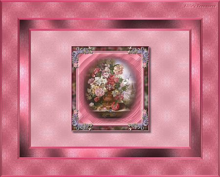 flowers in vase - flowers, pink borders, vase