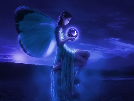 pretty blue fairy - fantasy & abstract background wallpapers on