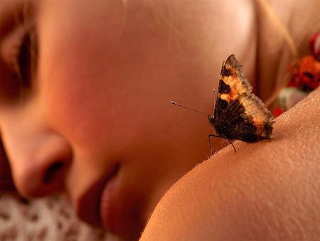 TENDER TOUCH - body, butterfly, skin, lady, touch, shoulder, tender