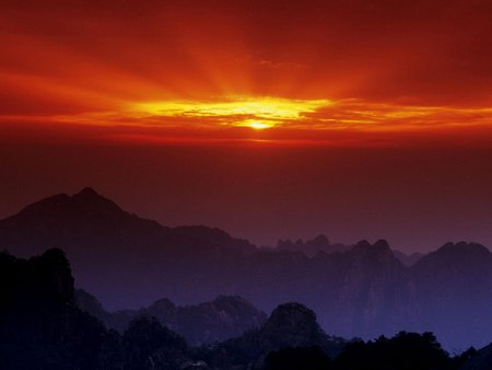 Huangshan at Sunset, China - cool, amazing, beautiful, blue, sunrises, sunsets, purple, nice, awesome, mountains, red, mounts, black, clouds, sunlights, china, huangshan