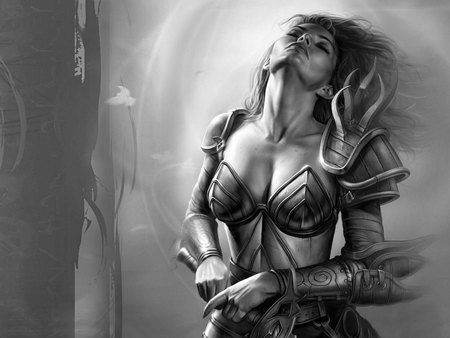 Warrior Girl - video games, warrior, grey background, games, black and white, lone, female, girl, neverwinter nights, fantasy, armour