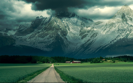 beautiful landscape - landscape, evening, vegetation, road, beautiful, stormy, grass, mountains