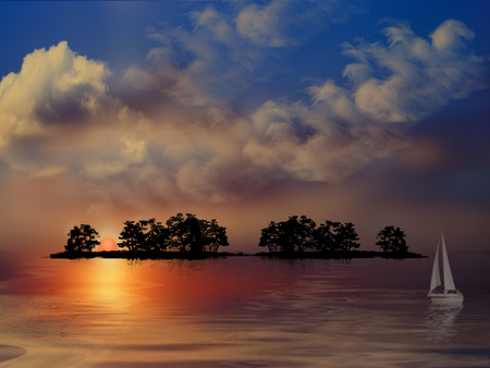 Sunset Island - cool, amazing, beautiful, blue, art, yatching, sunrises, lakes, water, sunsets, photoshop, oceans, awesome, wawes, mirror, gold, rivers, green, trees, lagoons, black, sky, islands, photography, clouds, ship, sailing